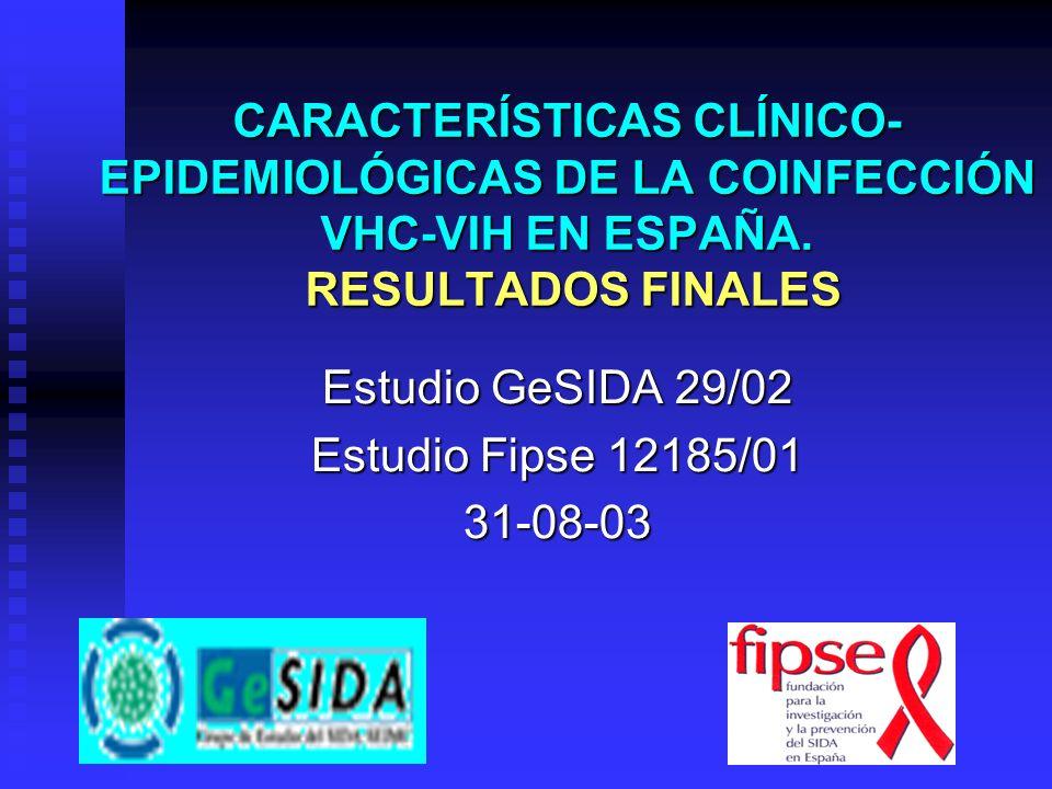 CARACTERÍSTICAS CLÍNICO- EPIDEMIOLÓGICAS DE LA COINFECCIÓN VHC-VIH EN ESPAÑA. RESULTADOS FINALES Estudio GeSIDA 29/02 Estudio Fipse 12185/01 31-08-03