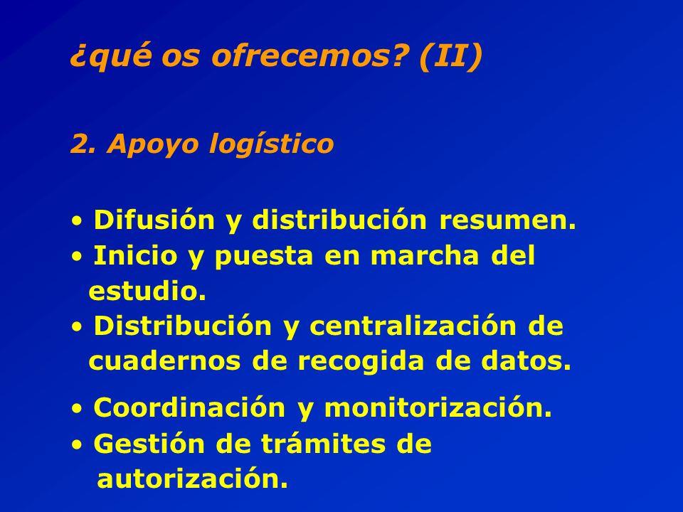 ¿qué os ofrecemos. (II) 2. Apoyo logístico Difusión y distribución resumen.
