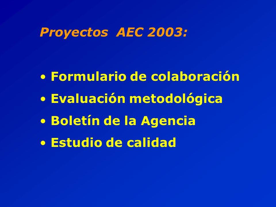Proyectos AEC 2003: Formulario de colaboración Evaluación metodológica Boletín de la Agencia Estudio de calidad