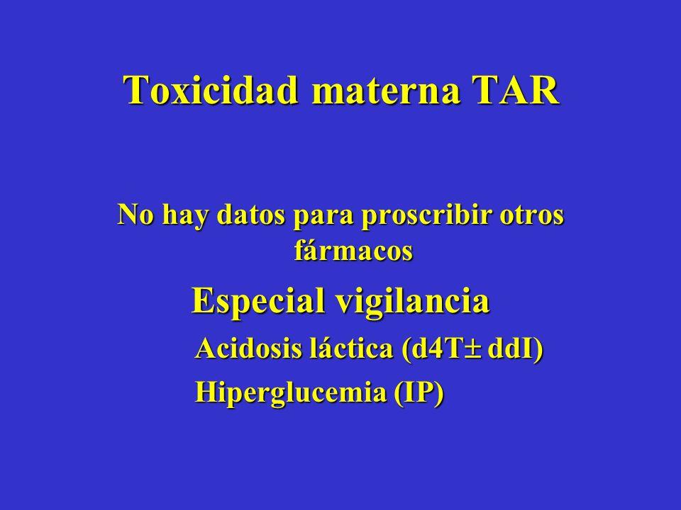 Toxicidad materna TAR No hay datos para proscribir otros fármacos Especial vigilancia Acidosis láctica (d4T ddI) Hiperglucemia (IP)