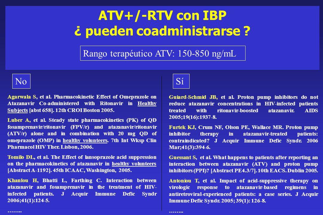 ATV+/-RTV con IBP ¿ pueden coadministrarse ? Guiard-Schmid JB, et al. Proton pump inhibitors do not reduce atazanavir concentrations in HIV-infected p