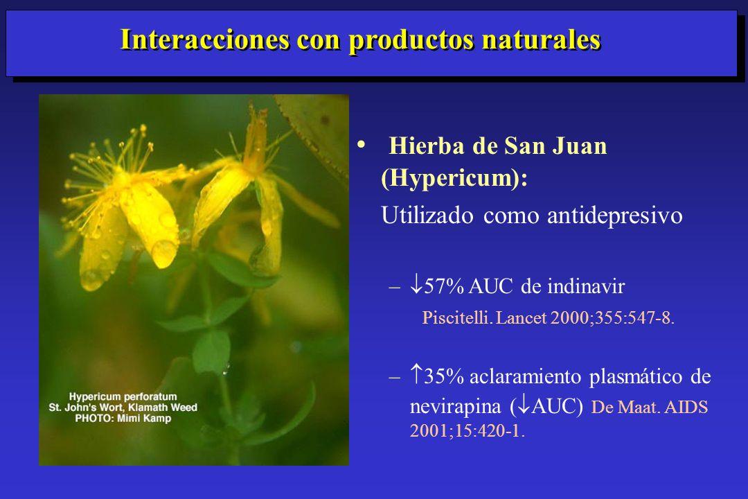 Hierba de San Juan (Hypericum): Utilizado como antidepresivo – 57% AUC de indinavir Piscitelli. Lancet 2000;355:547-8. – 35% aclaramiento plasmático d