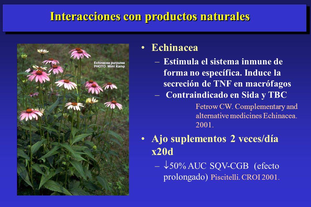 Echinacea –Estimula el sistema inmune de forma no específica. Induce la secreción de TNF en macrófagos – Contraindicado en Sida y TBC Fetrow CW. Compl