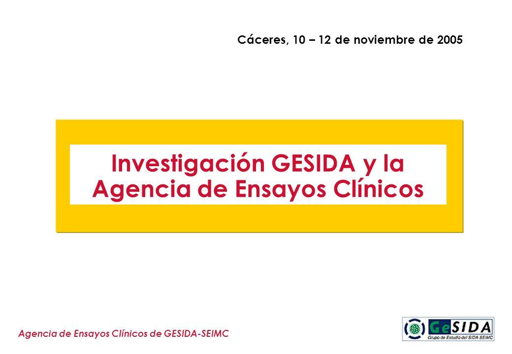 Agencia de Ensayos Clínicos de GESIDA-SEIMC Investigación GESIDA y la Agencia de Ensayos Clínicos Cáceres, 10 – 12 de noviembre de 2005