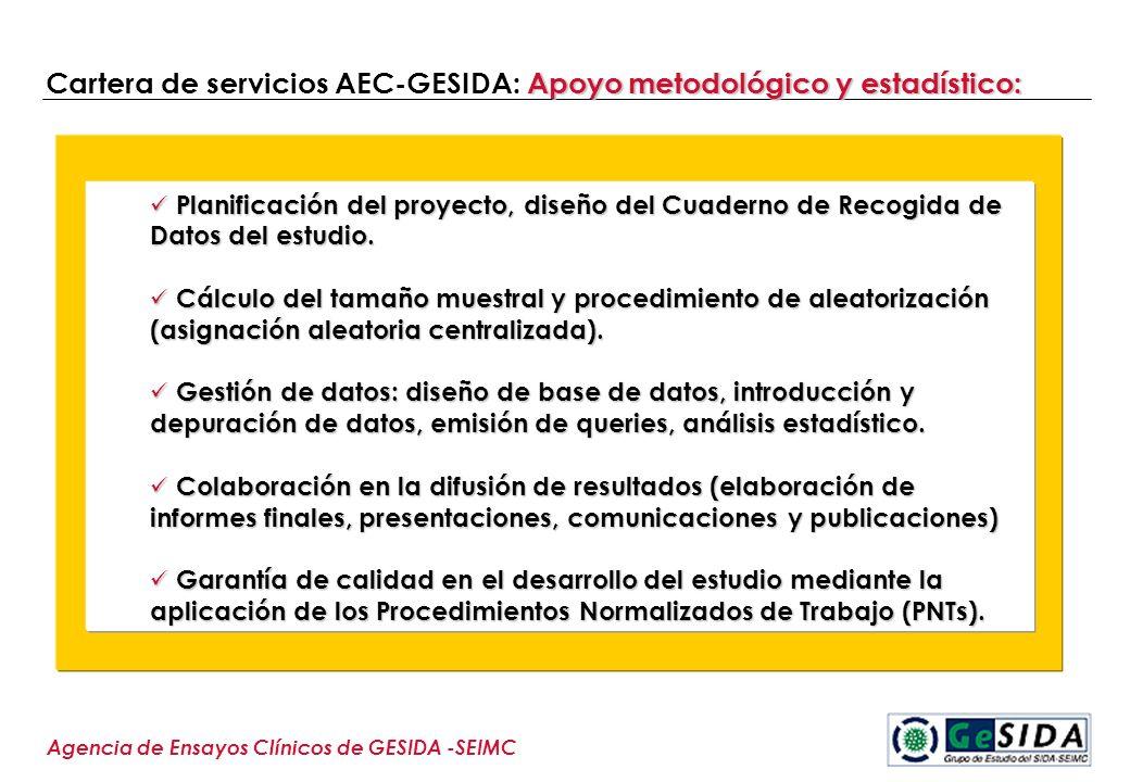 Apoyo metodológico y estadístico: Cartera de servicios AEC-GESIDA: Apoyo metodológico y estadístico: Agencia de Ensayos Clínicos de GESIDA -SEIMC Plan
