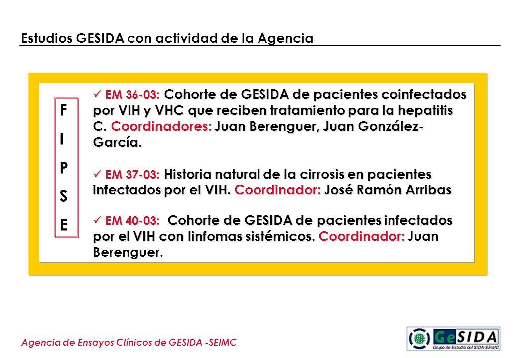 Estudios GESIDA con actividad de la Agencia Agencia de Ensayos Clínicos de GESIDA -SEIMC EM 36-03: Cohorte de GESIDA de pacientes coinfectados por VIH
