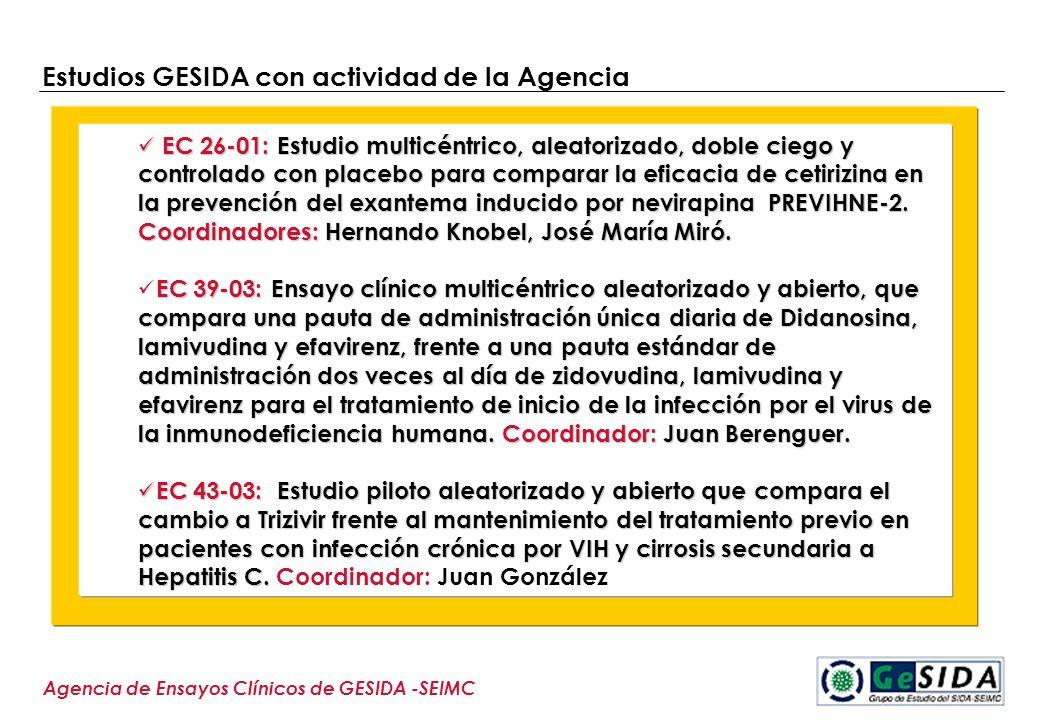 Estudios GESIDA con actividad de la Agencia Agencia de Ensayos Clínicos de GESIDA -SEIMC EC 26-01: Estudio multicéntrico, aleatorizado, doble ciego y