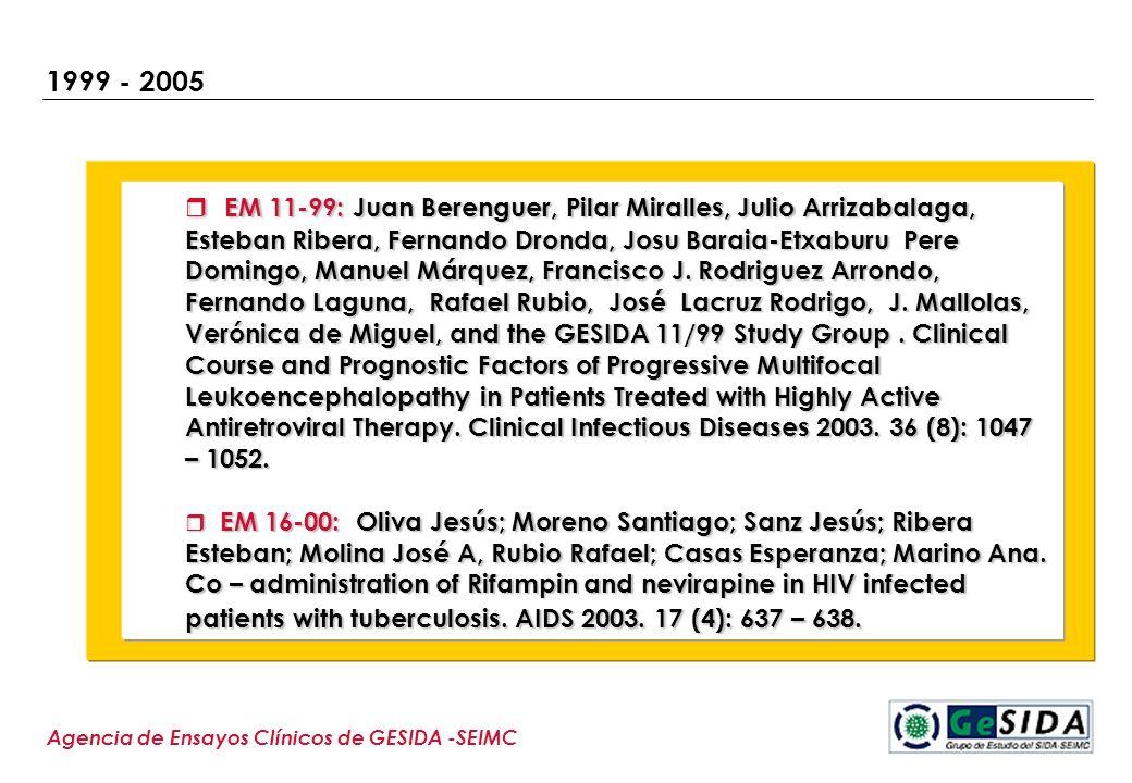 1999 - 2005 Agencia de Ensayos Clínicos de GESIDA -SEIMC EM 11-99: Juan Berenguer, Pilar Miralles, Julio Arrizabalaga, Esteban Ribera, Fernando Dronda