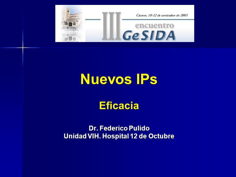 Nuevos IPs Eficacia Dr. Federico Pulido Unidad VIH. Hospital 12 de Octubre