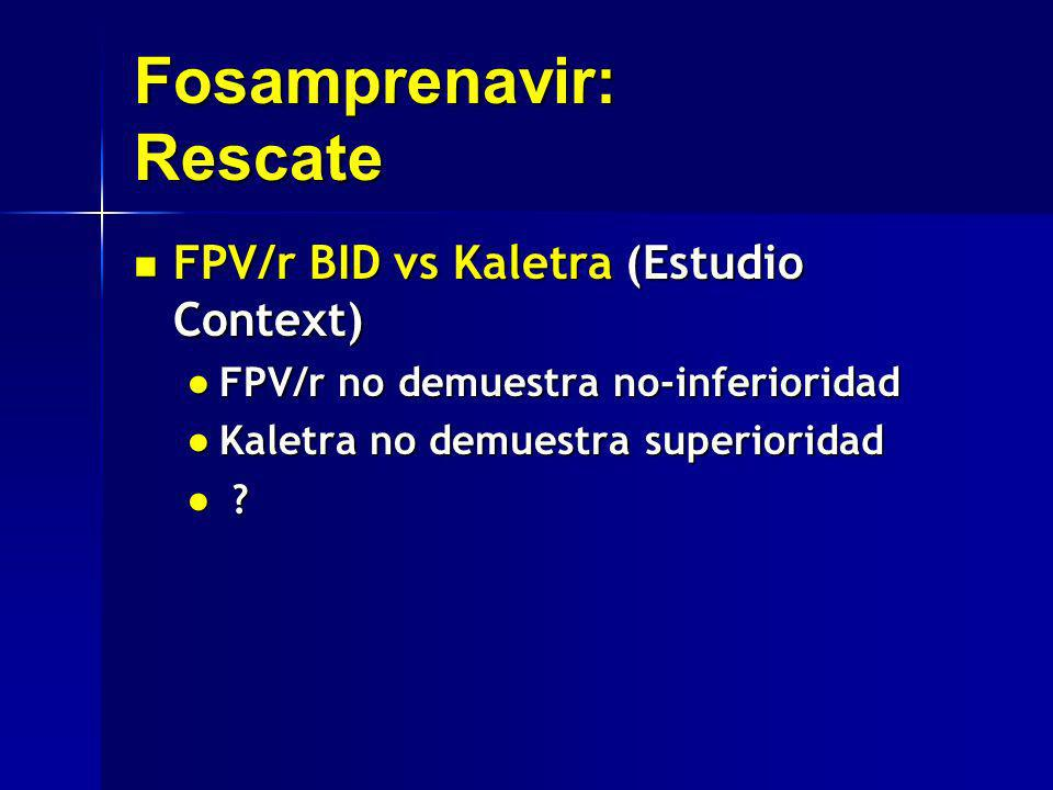 Fosamprenavir: Rescate FPV/r BID vs Kaletra (Estudio Context) FPV/r BID vs Kaletra (Estudio Context) FPV/r no demuestra no-inferioridad FPV/r no demue