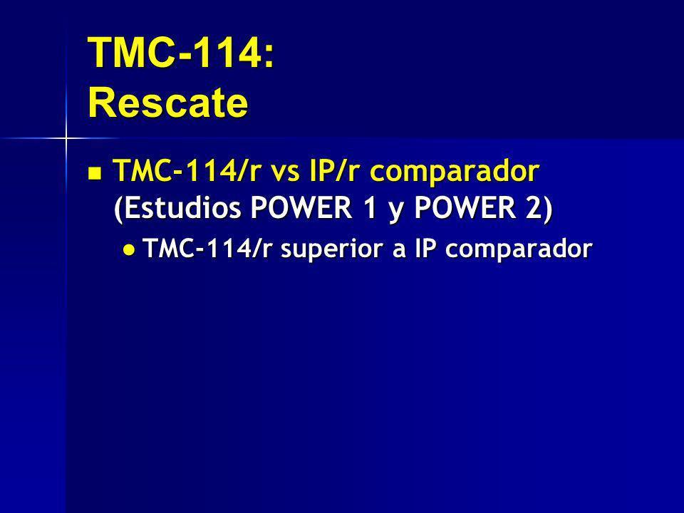 TMC-114: Rescate TMC-114/r vs IP/r comparador (Estudios POWER 1 y POWER 2) TMC-114/r vs IP/r comparador (Estudios POWER 1 y POWER 2) TMC-114/r superio
