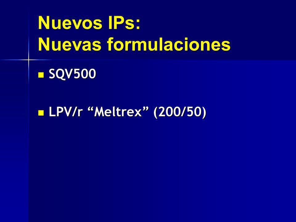 Nuevos IPs: Nuevas formulaciones SQV500 SQV500 LPV/r Meltrex (200/50) LPV/r Meltrex (200/50)