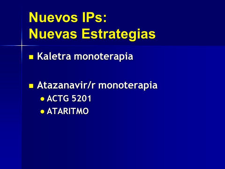 Nuevos IPs: Nuevas Estrategias Kaletra monoterapia Kaletra monoterapia Atazanavir/r monoterapia Atazanavir/r monoterapia ACTG 5201 ACTG 5201 ATARITMO