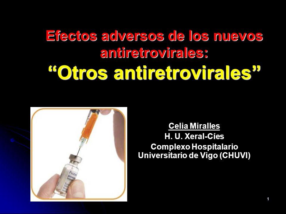 32 Efectos adversos, semana 48 Nuevos E.A.: 42 EA grado>3 (7 en relación con tto) en 25 pac.