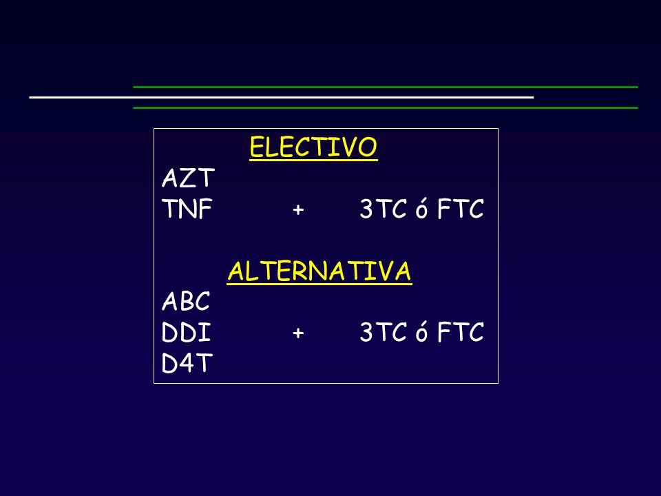 ELECTIVO AZT TNF+ 3TC ó FTC ALTERNATIVA ABC DDI+3TC ó FTC D4T