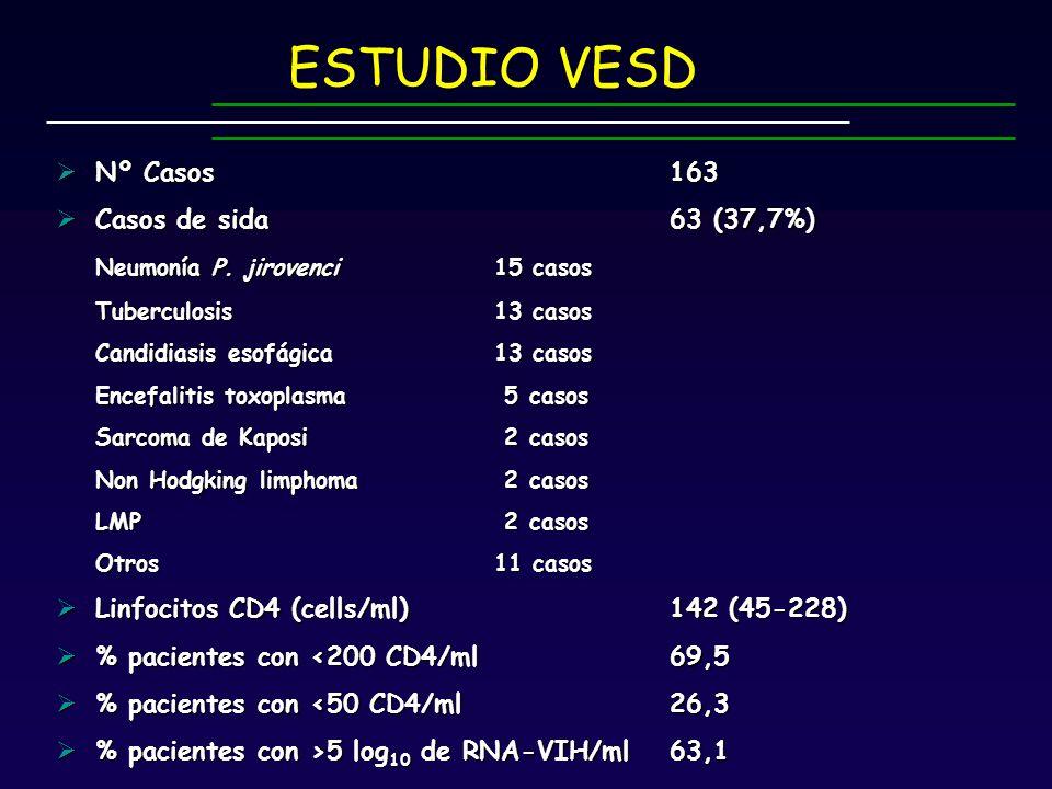 Nº Casos163 Nº Casos163 Casos de sida63 (37,7%) Casos de sida63 (37,7%) Neumonía P.