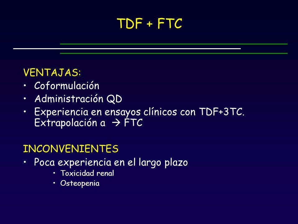 TDF + FTC VENTAJAS: Coformulación Administración QD Experiencia en ensayos clínicos con TDF+3TC.