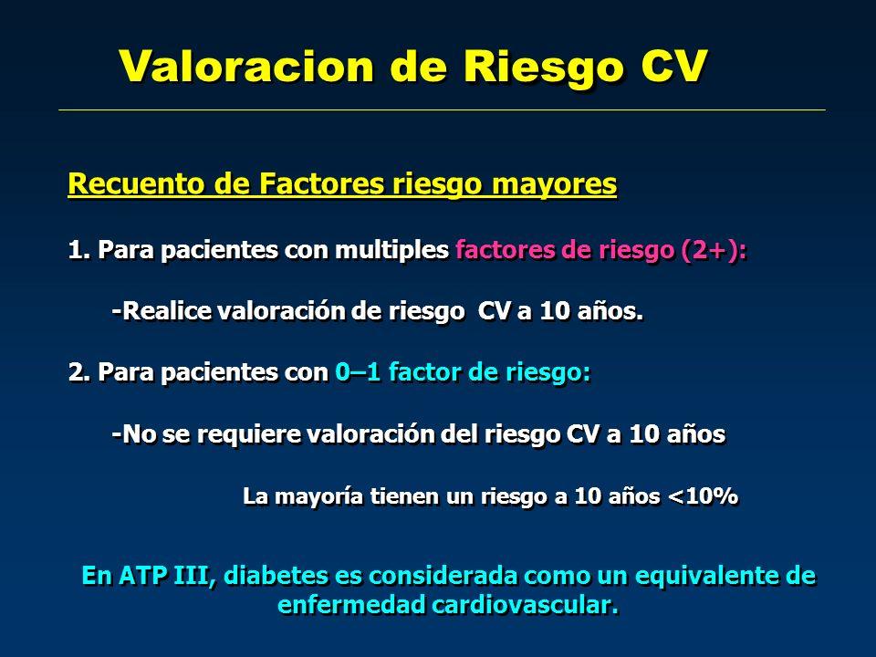 Riesgo Valoracion de Riesgo CV Recuento de Factores riesgo mayores 1. Para pacientes con multiples factores de riesgo (2+): -Realice valoración de rie