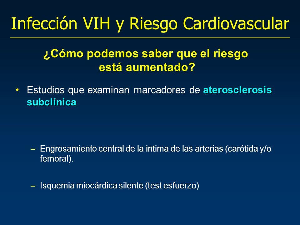 Infección VIH y Riesgo Cardiovascular aterosclerosis subclínicaEstudios que examinan marcadores de aterosclerosis subclínica –Engrosamiento central de la intima de las arterias (carótida y/o femoral).