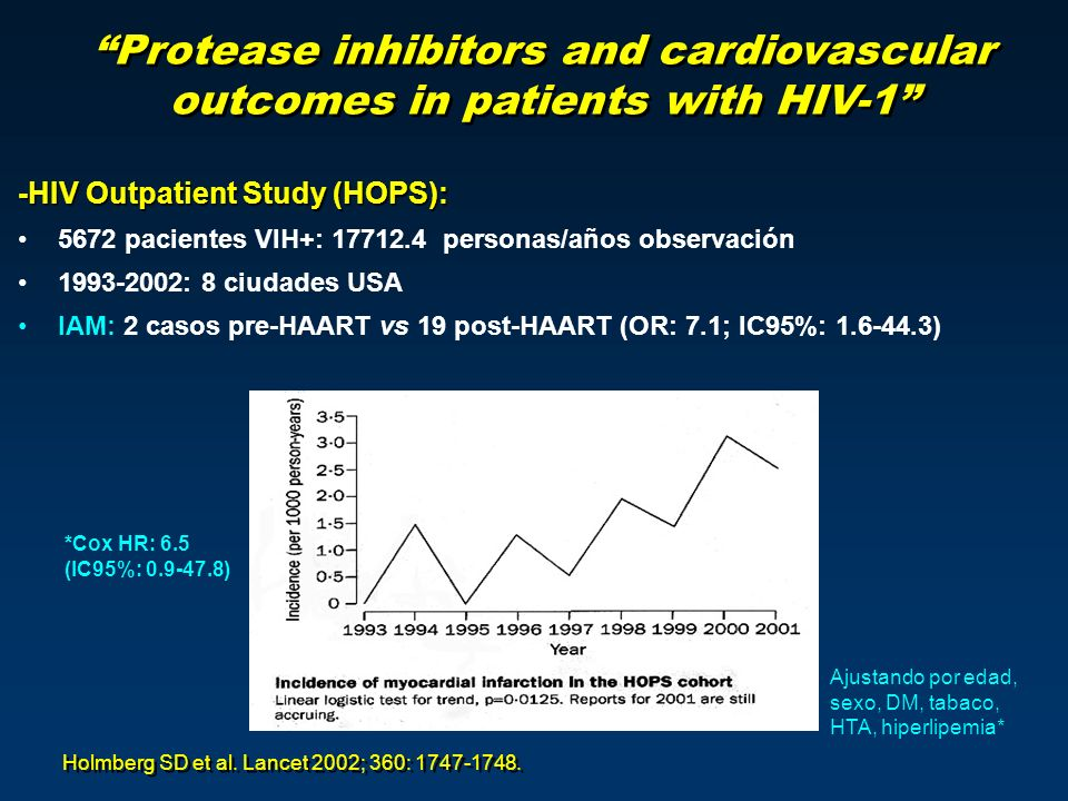Protease inhibitors and cardiovascular outcomes in patients with HIV-1 -HIV Outpatient Study (HOPS): 5672 pacientes VIH+: 17712.4 personas/años observación 1993-2002: 8 ciudades USA IAM: 2 casos pre-HAART vs 19 post-HAART (OR: 7.1; IC95%: 1.6-44.3) Holmberg SD et al.