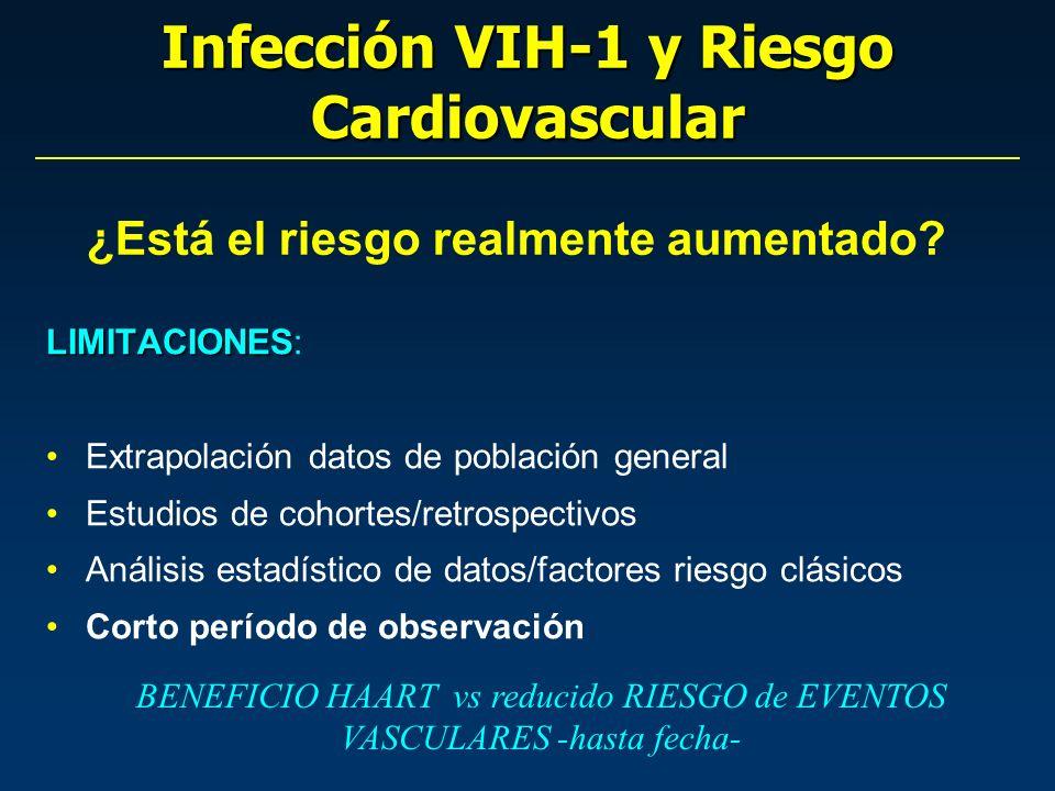 Infección VIH-1 y Riesgo Cardiovascular LIMITACIONES LIMITACIONES: Extrapolación datos de población general Estudios de cohortes/retrospectivos Anális