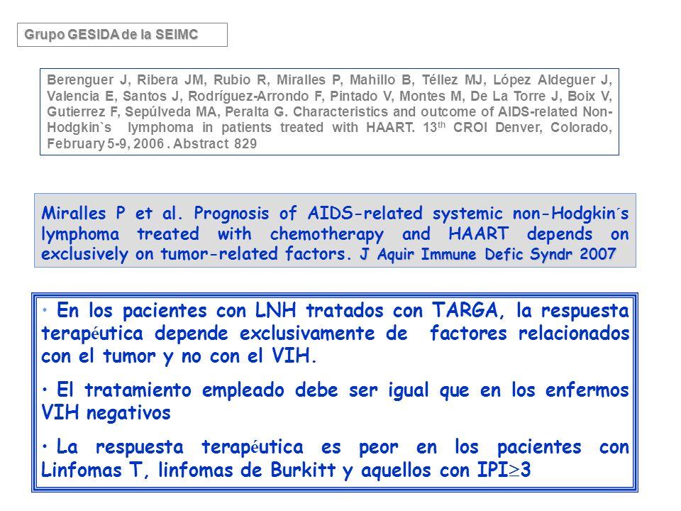 En los pacientes con LNH tratados con TARGA, la respuesta terap é utica depende exclusivamente de factores relacionados con el tumor y no con el VIH.