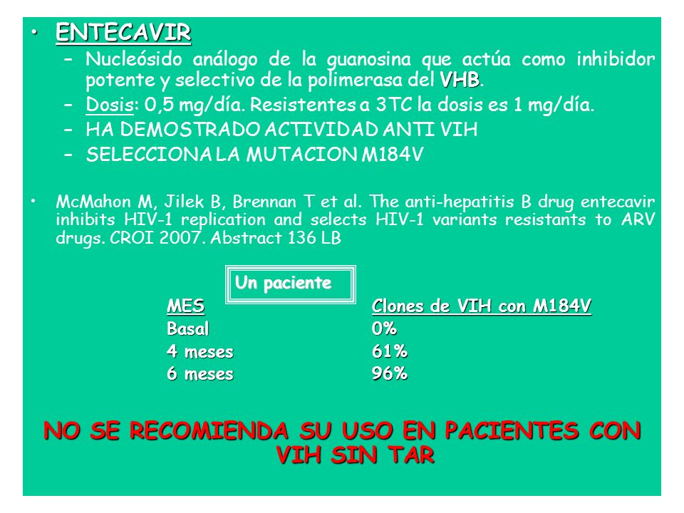 ENTECAVIRENTECAVIR VHB –Nucleósido análogo de la guanosina que actúa como inhibidor potente y selectivo de la polimerasa del VHB. –Dosis: 0,5 mg/día.