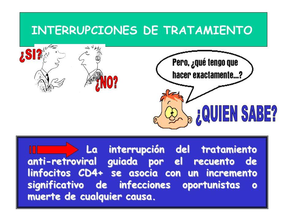 INTERRUPCIONES DE TRATAMIENTO La interrupción del tratamiento anti-retroviral guiada por el recuento de linfocitos CD4+ se asocia con un incremento si