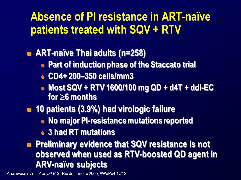 Absence of PI resistance in ART-naïve patients treated with SQV + RTV n ART-naïve Thai adults (n=258) l Part of induction phase of the Staccato trial l CD4+ 200–350 cells/mm3 l Most SQV + RTV 1600/100 mg QD + d4T + ddI-EC for 6 months n 10 patients (3.9%) had virologic failure l No major PI-resistance mutations reported l 3 had RT mutations n Preliminary evidence that SQV resistance is not observed when used as RTV-boosted QD agent in ARV-naïve subjects Ananworanich J, et al.