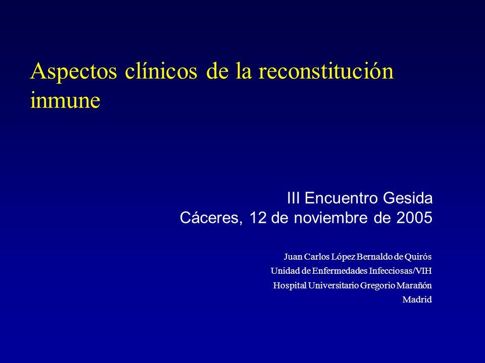 Tiroiditis autoinmune Análisis de 5 hospitales de Londres 17 pacientes (mujeres de raza negra) Incidencia: 3% en mujeres y 0,2% en varones Tiempo medio entre TAR y Dx: 17 meses Comparados con grupo control –CD4 mas bajos (66 vs 218) –Mayor Incremento CD4 tras TAR (355 vs 199) –Mayor numero eventos C previos (59% vs 20) Medicine 2005;84:98
