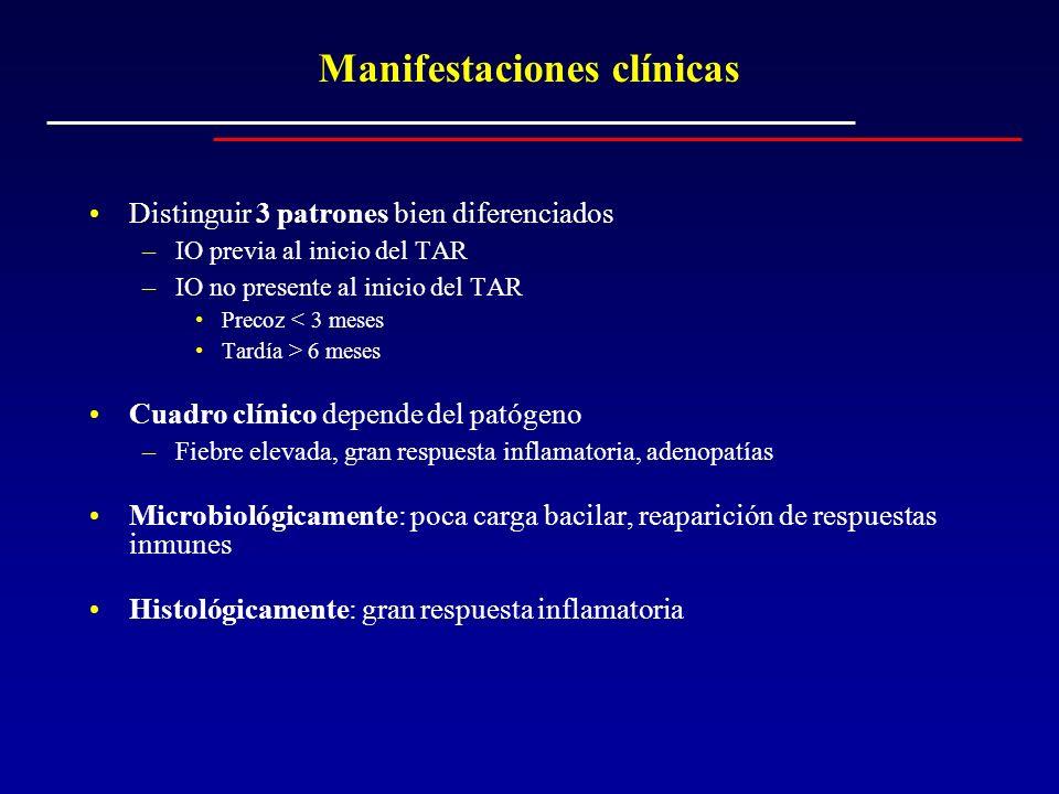 Manifestaciones clínicas Distinguir 3 patrones bien diferenciados –IO previa al inicio del TAR –IO no presente al inicio del TAR Precoz < 3 meses Tard