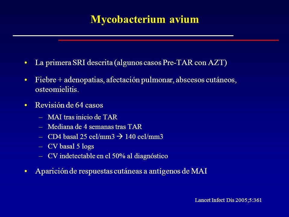 Mycobacterium avium La primera SRI descrita (algunos casos Pre-TAR con AZT) Fiebre + adenopatias, afectación pulmonar, abscesos cutáneos, osteomieliti