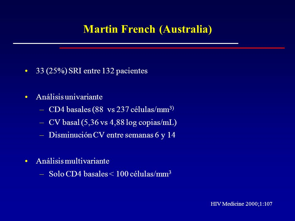 Martin French (Australia) 33 (25%) SRI entre 132 pacientes Análisis univariante –CD4 basales (88 vs 237 células/mm 3) –CV basal (5,36 vs 4,88 log copi