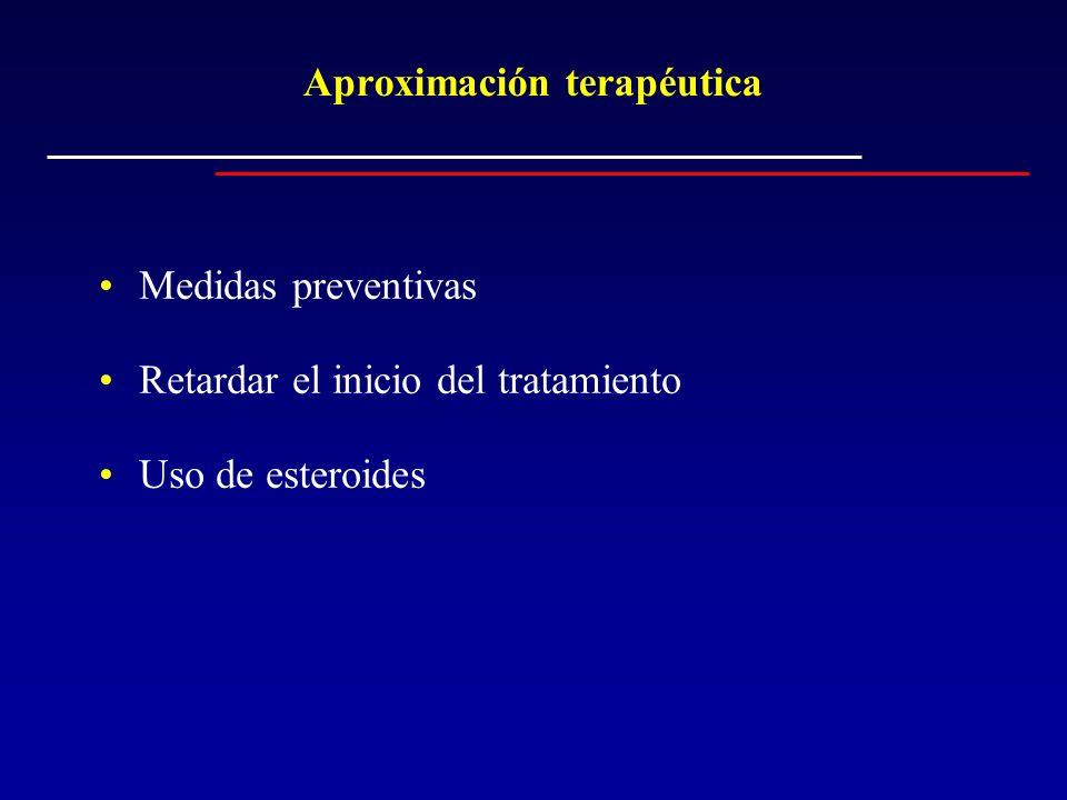 Aproximación terapéutica Medidas preventivas Retardar el inicio del tratamiento Uso de esteroides