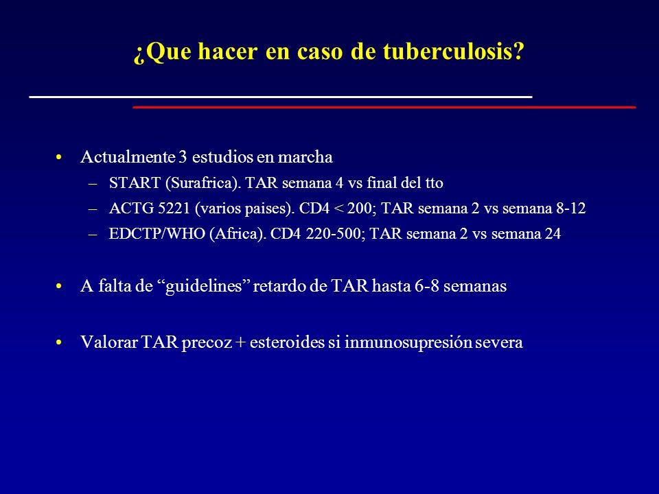 ¿Que hacer en caso de tuberculosis? Actualmente 3 estudios en marcha –START (Surafrica). TAR semana 4 vs final del tto –ACTG 5221 (varios paises). CD4