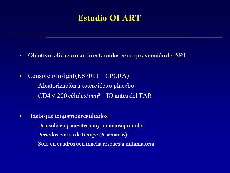 Estudio OI ART Objetivo: eficacia uso de esteroides como prevención del SRI Consorcio Insight (ESPRIT + CPCRA) –Aleatorización a esteroides o placebo