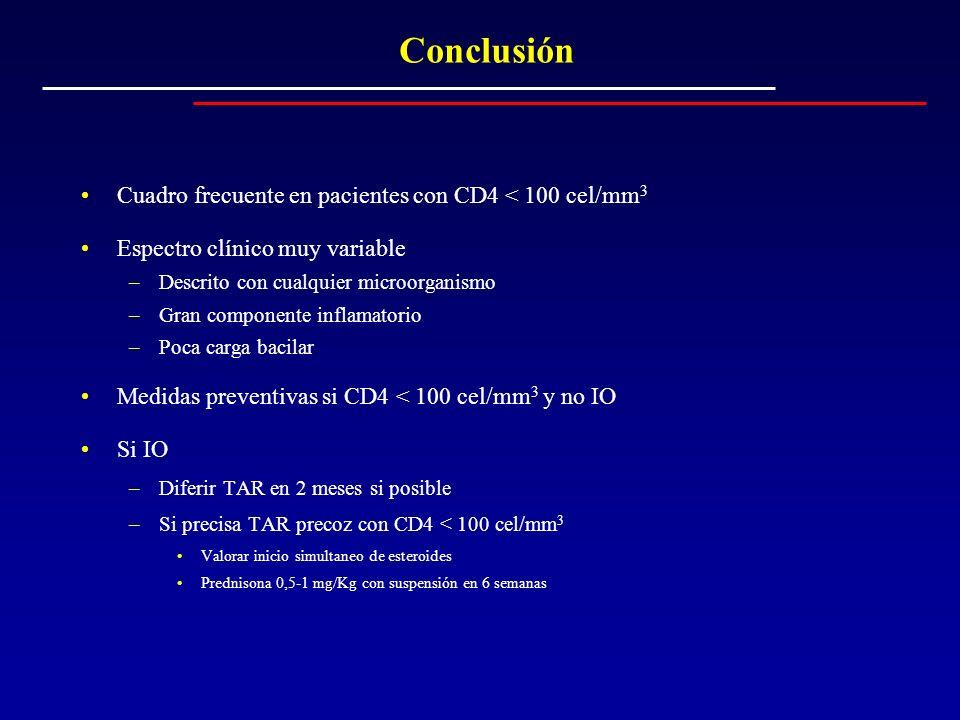 Conclusión Cuadro frecuente en pacientes con CD4 < 100 cel/mm 3 Espectro clínico muy variable –Descrito con cualquier microorganismo –Gran componente