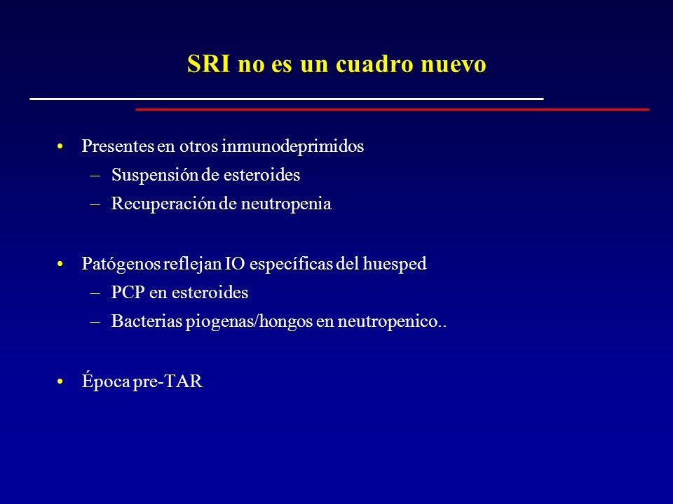 Jevtovic (Serbia/Montenegro) Sobre 385 pacientes que inician TAR 65 (16,7%) desarrollan algún tipo de SRI SRI asociado a –CD4 < 100 cel/mm 3 al inicio del TAR (OR = 2,5) –Persistencia de CVP protegía de SRI (OR=0,3).