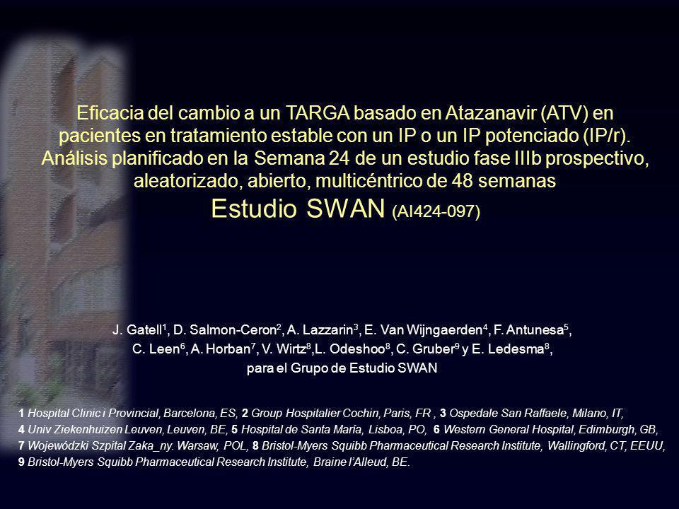 Eficacia del cambio a un TARGA basado en Atazanavir (ATV) en pacientes en tratamiento estable con un IP o un IP potenciado (IP/r). Análisis planificad