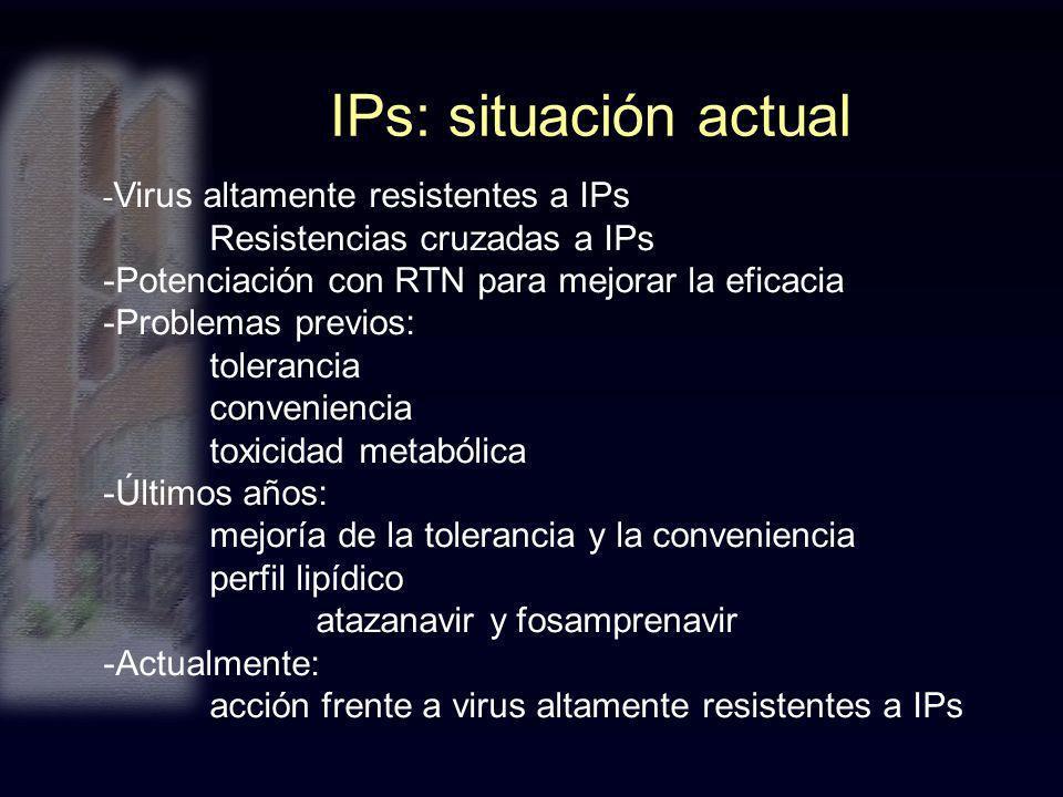 IPs: situación actual - Virus altamente resistentes a IPs Resistencias cruzadas a IPs -Potenciación con RTN para mejorar la eficacia -Problemas previo