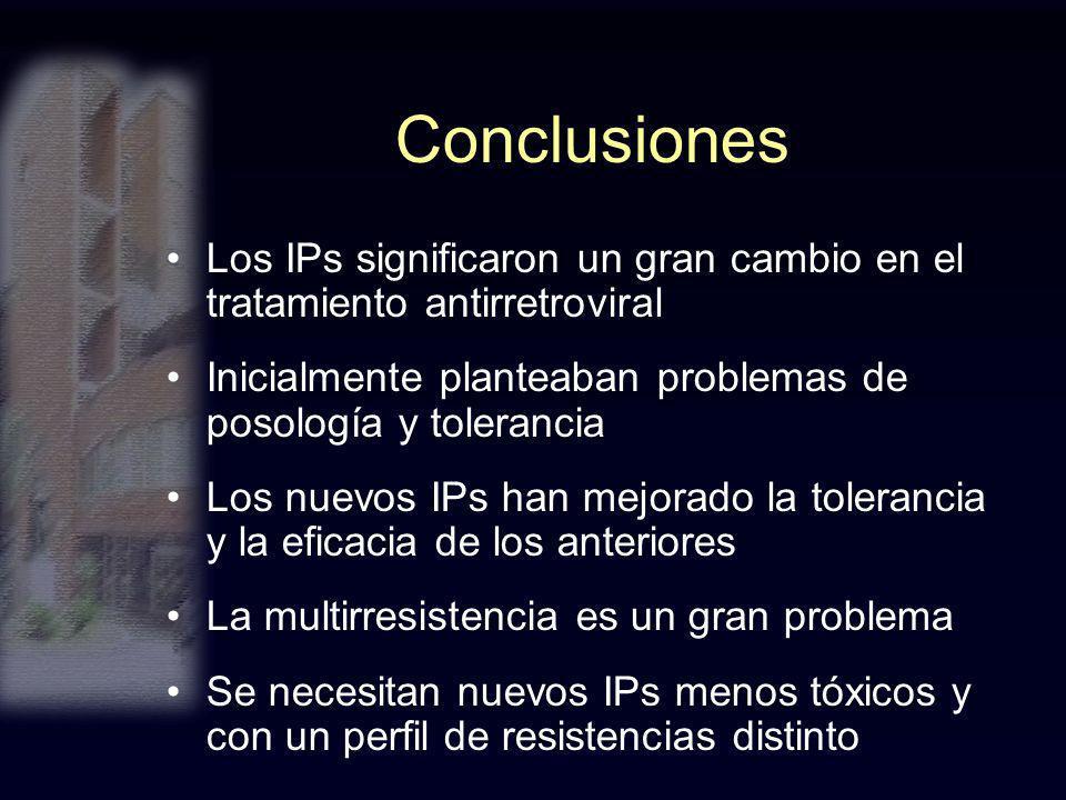 Conclusiones Los IPs significaron un gran cambio en el tratamiento antirretroviral Inicialmente planteaban problemas de posología y tolerancia Los nue