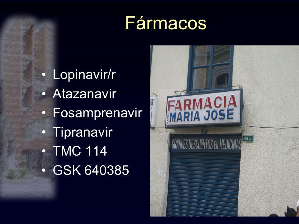 Fármacos Lopinavir/r Atazanavir Fosamprenavir Tipranavir TMC 114 GSK 640385