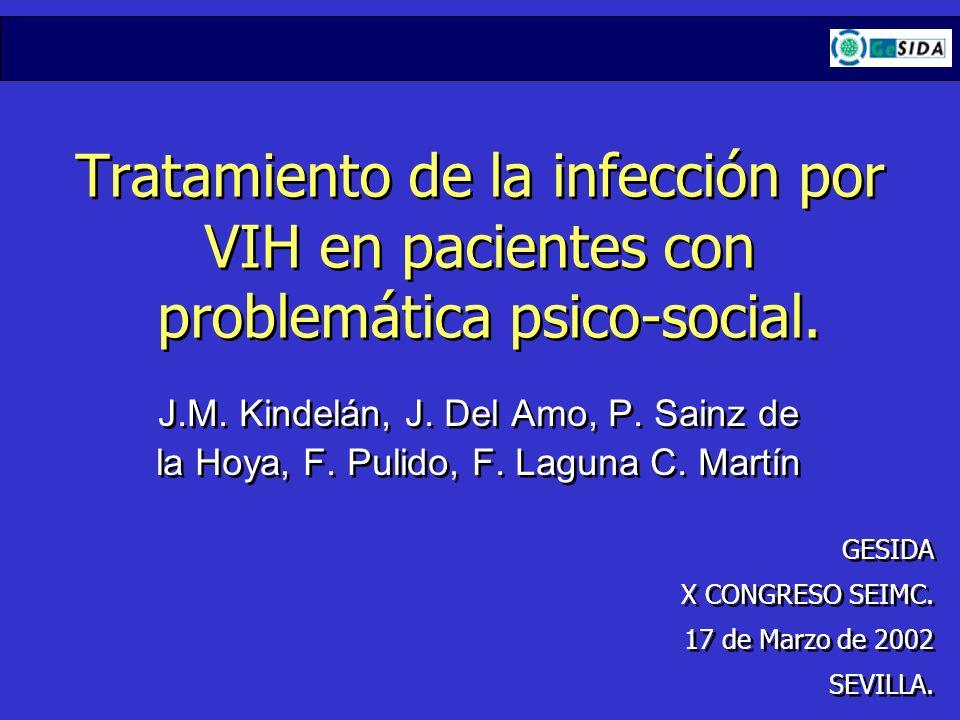 J.M. Kindelán, J. Del Amo, P. Sainz de la Hoya, F. Pulido, F. Laguna C. Martín Tratamiento de la infección por VIH en pacientes con problemática psico