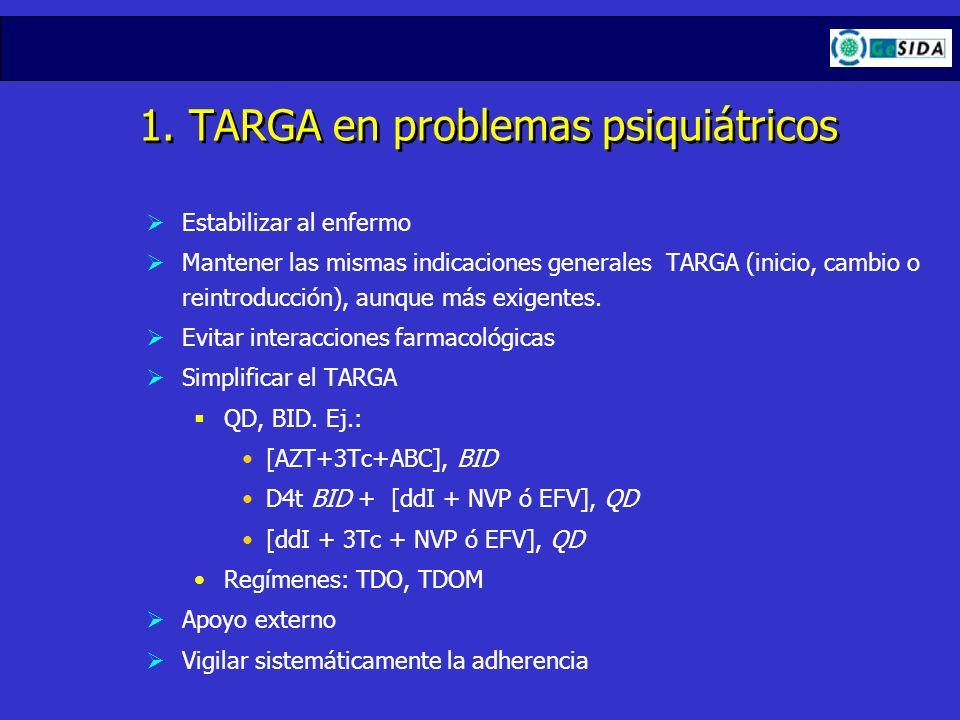 1. TARGA en problemas psiquiátricos Estabilizar al enfermo Mantener las mismas indicaciones generales TARGA (inicio, cambio o reintroducción), aunque