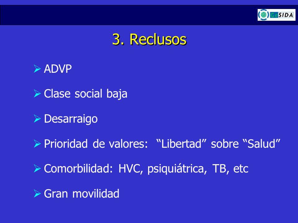 3. Reclusos ADVP Clase social baja Desarraigo Prioridad de valores: Libertad sobre Salud Comorbilidad: HVC, psiquiátrica, TB, etc Gran movilidad