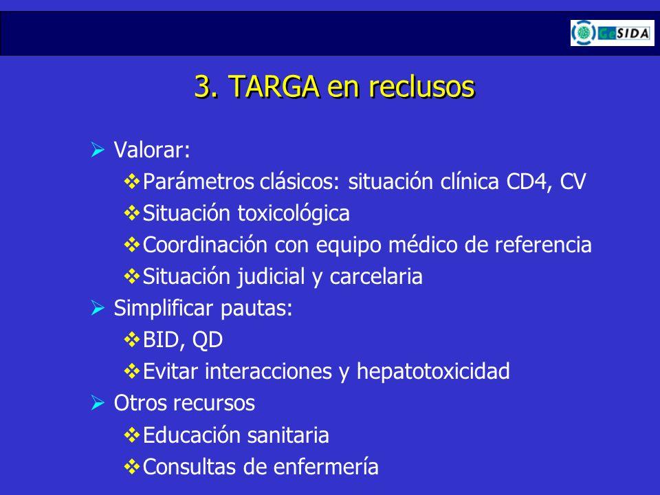 3. TARGA en reclusos Valorar: Parámetros clásicos: situación clínica CD4, CV Situación toxicológica Coordinación con equipo médico de referencia Situa