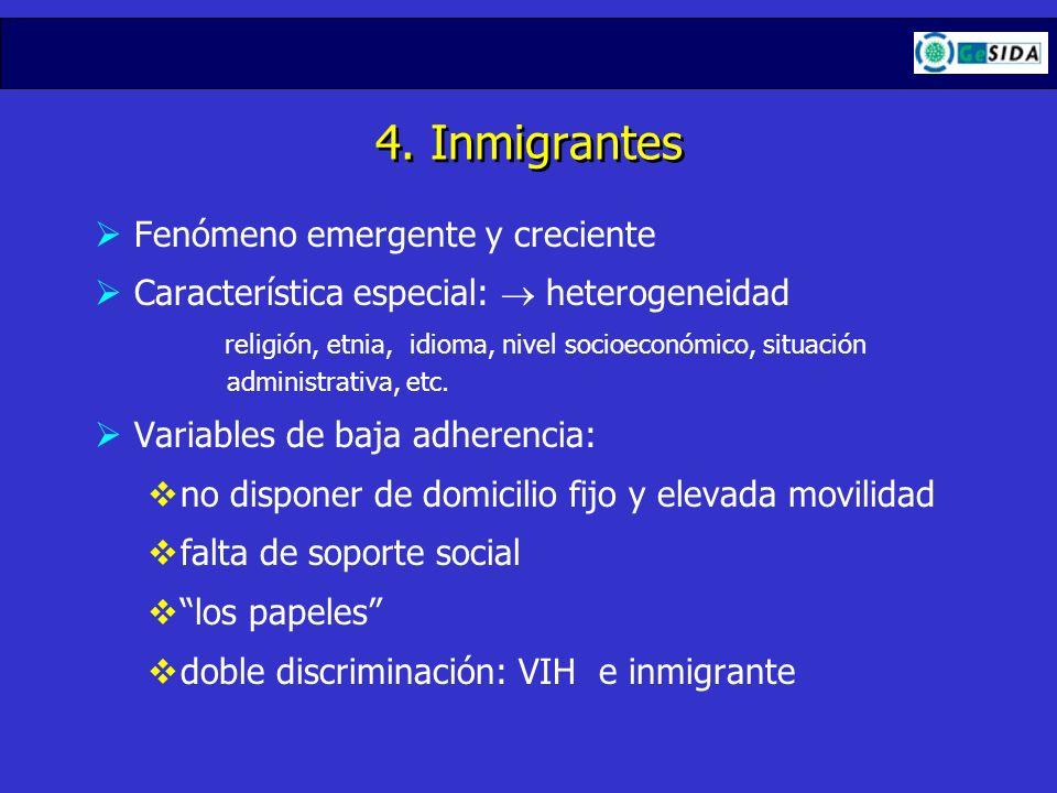 4. Inmigrantes Fenómeno emergente y creciente Característica especial: heterogeneidad religión, etnia, idioma, nivel socioeconómico, situación adminis