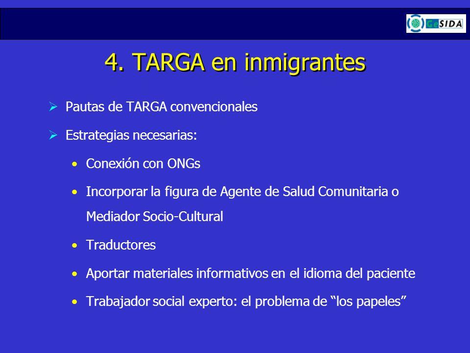 4. TARGA en inmigrantes Pautas de TARGA convencionales Estrategias necesarias: Conexión con ONGs Incorporar la figura de Agente de Salud Comunitaria o