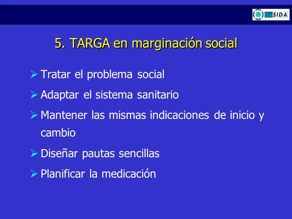 5. TARGA en marginación social Tratar el problema social Adaptar el sistema sanitario Mantener las mismas indicaciones de inicio y cambio Diseñar paut