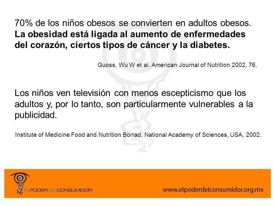 70% de los niños obesos se convierten en adultos obesos. La obesidad está ligada al aumento de enfermedades del corazón, ciertos tipos de cáncer y la